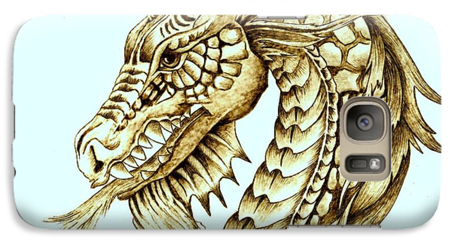 Dragon Galaxy S7 Case featuring the pyrography Horned Dragon by Danette Smith