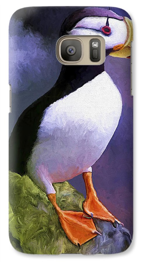 Animal Galaxy S7 Case featuring the painting Horned Puffin by David Wagner
