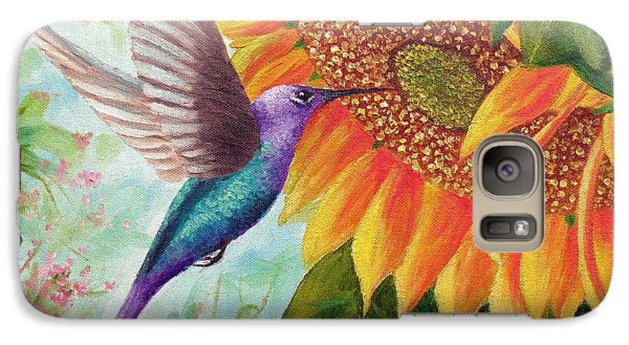 Hummingbird Galaxy S7 Case featuring the painting Humming For Nectar by David G Paul
