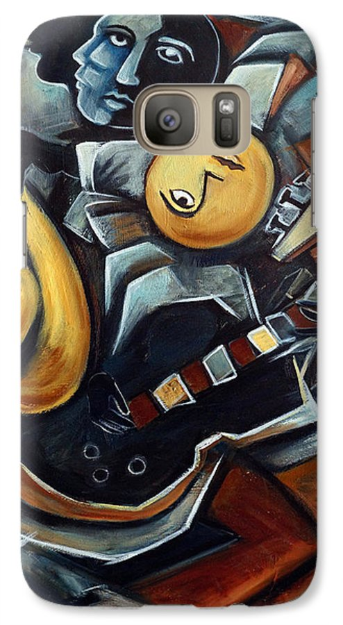 Cubism Galaxy S7 Case featuring the painting Indigo Blues by Valerie Vescovi