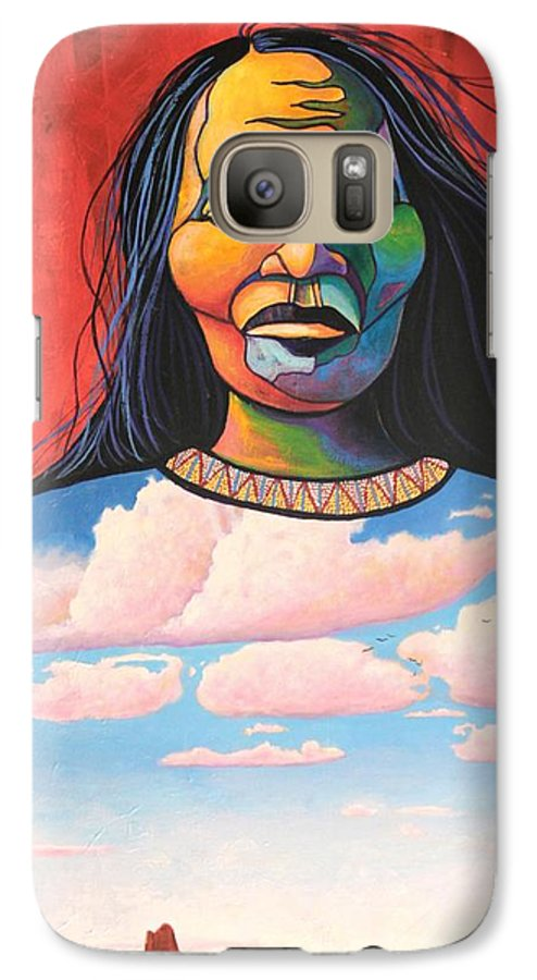 Native American Galaxy S7 Case featuring the painting Into Her Spirit by Joe Triano