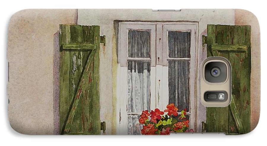 Watercolor Galaxy S7 Case featuring the painting Irvillac Window by Mary Ellen Mueller Legault