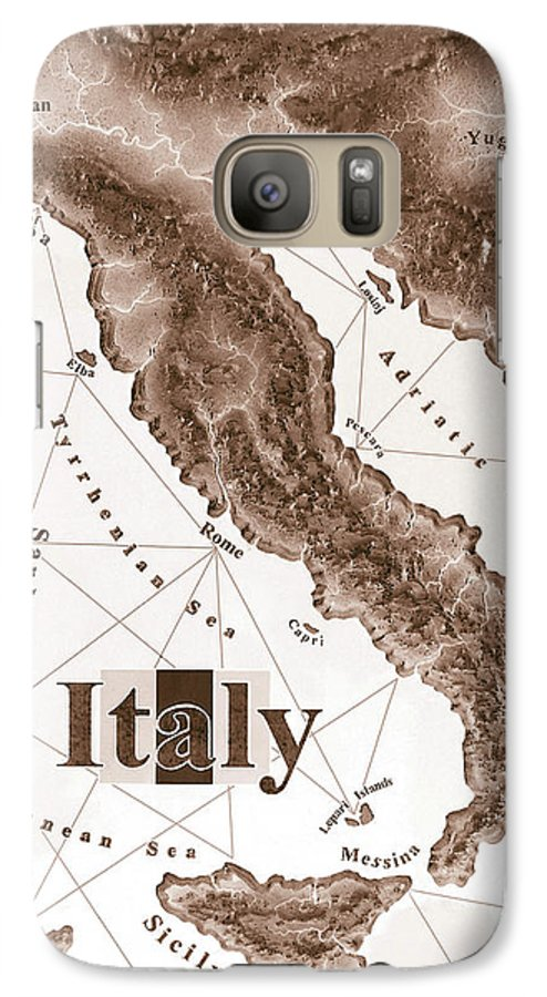 Italian Galaxy S7 Case featuring the mixed media Italian Map by Curtiss Shaffer