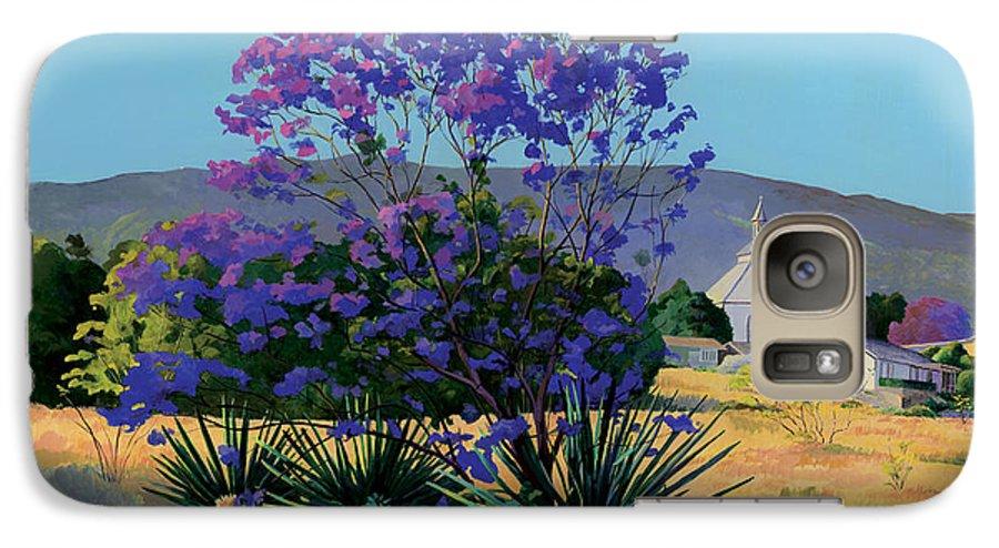 Acrylics Galaxy S7 Case featuring the painting Jacaranda Holy Ghost Church In Kula Maui Hawaii by Don Jusko