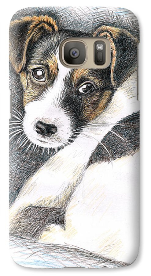 Dog Galaxy S7 Case featuring the drawing Jack Russell Puppy by Nicole Zeug