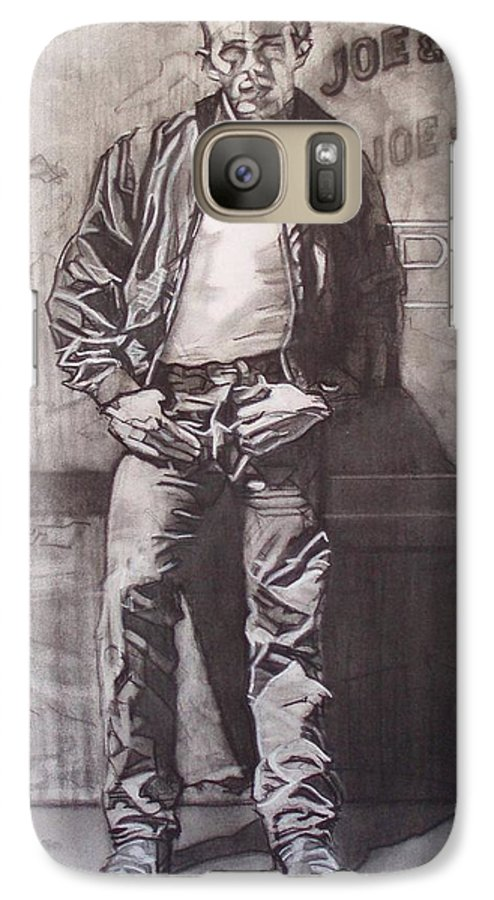 Charcoal; Icon;americana;cool;window;sidewalk;street;rock And Roll;jeans;t-shirt;diner;movie Star Galaxy S7 Case featuring the drawing James Dean by Sean Connolly