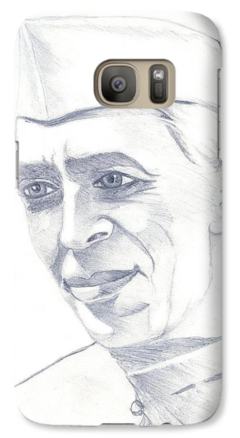Jawaharl Lal Nehru Photos Galaxy S7 Case featuring the painting Jawaharlal Nehru by Tanmay Singh