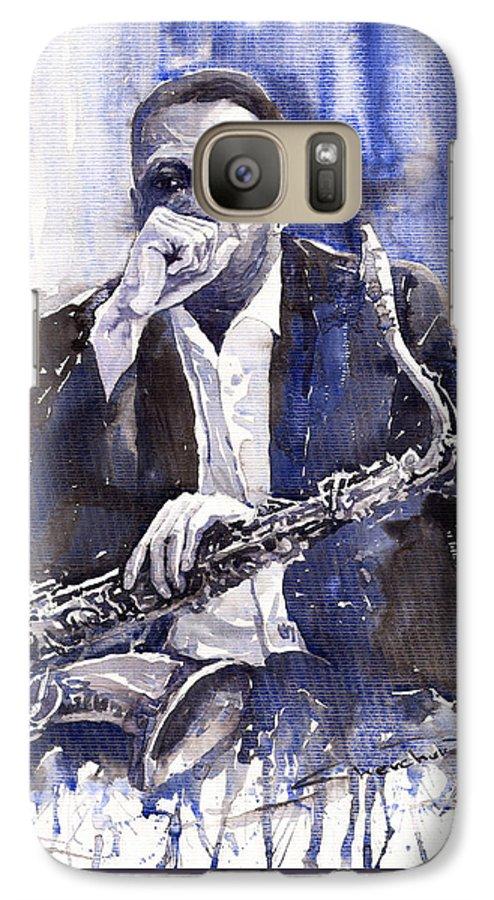 Jazz Galaxy S7 Case featuring the painting Jazz Saxophonist John Coltrane Blue by Yuriy Shevchuk