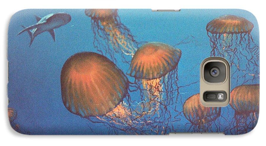 Underwater Galaxy S7 Case featuring the painting Jellyfish And Mr. Bones by Philip Fleischer