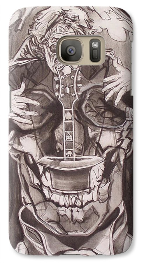 Charcoal; Skull;guitar;music;magic;mystic;wizard;cape;hat;shades;grateful Dead;deadheads Galaxy S7 Case featuring the drawing Jerry Garcia . . Magic Is What We Do - Music Is How We Do It by Sean Connolly