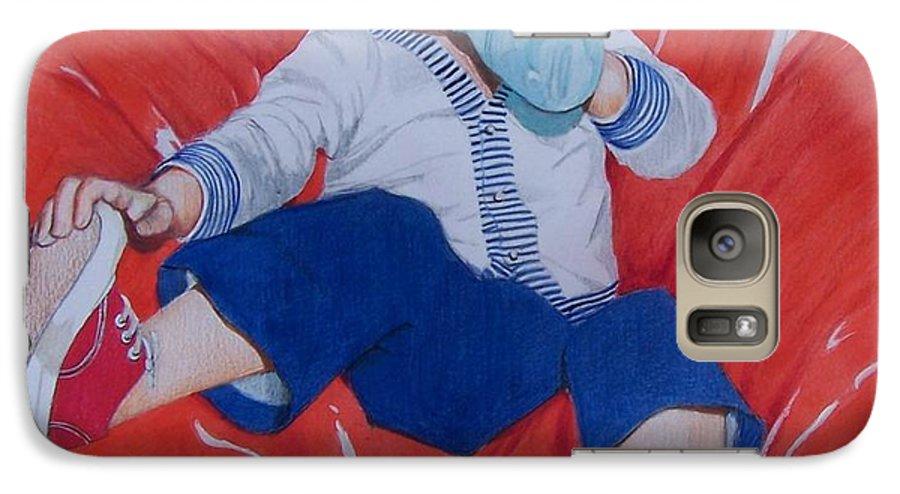 Boy Galaxy S7 Case featuring the mixed media Joey by Constance Drescher