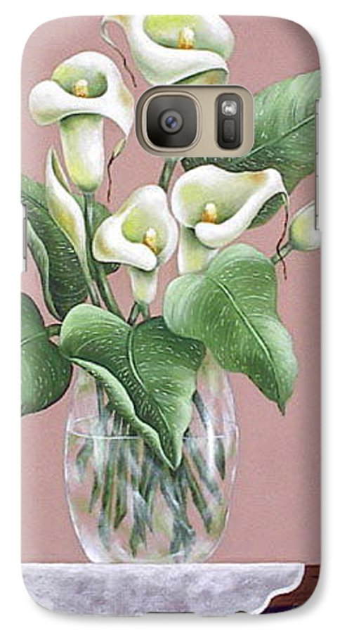 Oil Galaxy S7 Case featuring the painting Josies Lilies by Ruth Bares
