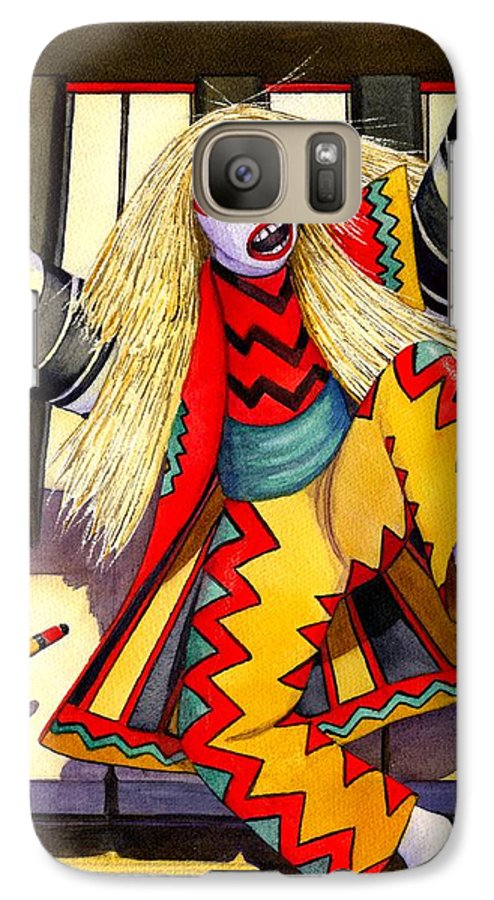 Kabuki Galaxy S7 Case featuring the painting Kabuki Chopsticks 3 by Catherine G McElroy