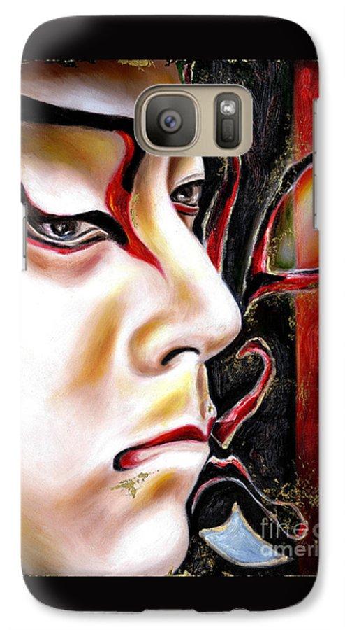 Kabuki Galaxy S7 Case featuring the painting Kabuki Three by Hiroko Sakai