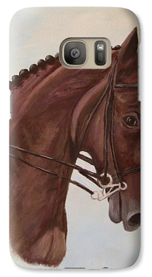 Horse Galaxy S7 Case featuring the painting Kingd'azur by Quwatha Valentine