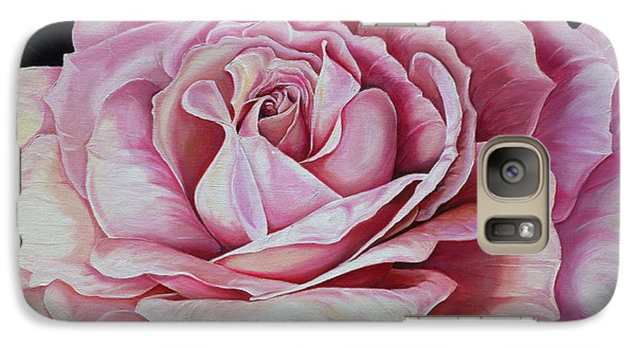 Rose Painting Pink Rose Painting  Floral Painting Flower Painting Botanical Painting Greeting Card Painting Galaxy S7 Case featuring the painting La Bella Rosa by Karin Dawn Kelshall- Best
