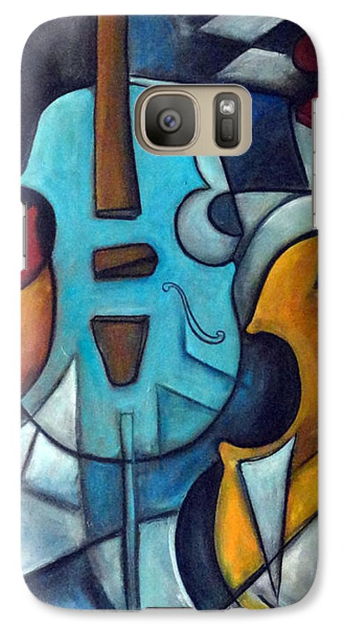 Music Galaxy S7 Case featuring the painting La Musique 2 by Valerie Vescovi