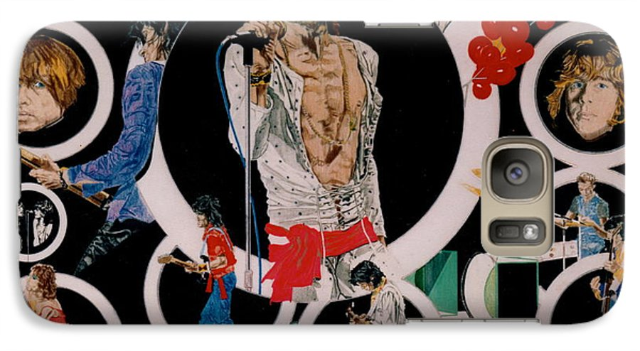 Mick Jagger;keith Richards;brian Jones;charlie Watts;bill Wyman;rock & Roll;music;guitars;water Galaxy S7 Case featuring the drawing Ladies And Gentlemen - The Rolling Stones by Sean Connolly