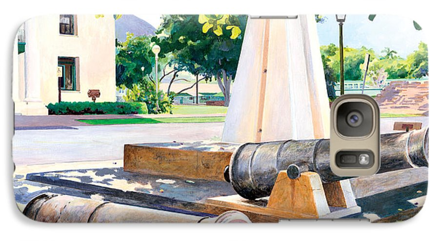 Lahaina Maui Cannons Galaxy S7 Case featuring the painting Lahaina 1812 Cannons by Don Jusko