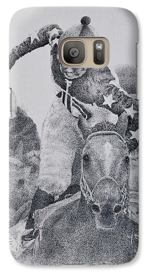 Horses Horse Racing Jockeys Racetrack Azeri Thorobreds Galaxy S7 Case featuring the painting Last Call by Tony Ruggiero
