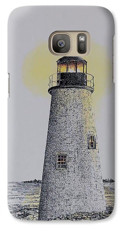 New England Lighthouse Seascape Landscape Pen & Ink Watercolor Coastline Connecticut Galaxy S7 Case featuring the painting Light On The Sound by Tony Ruggiero