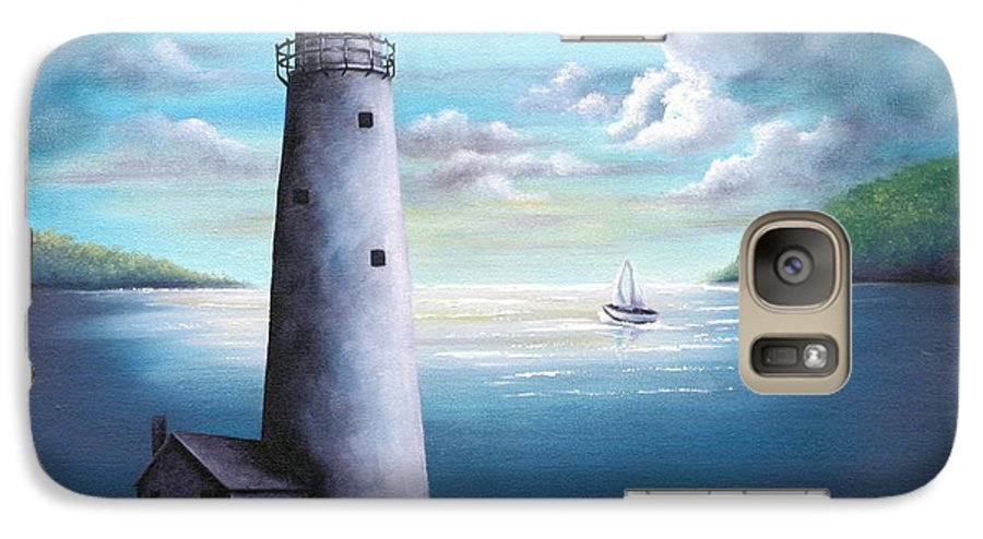 Oil Galaxy S7 Case featuring the painting Lighthouse by Ruth Bares