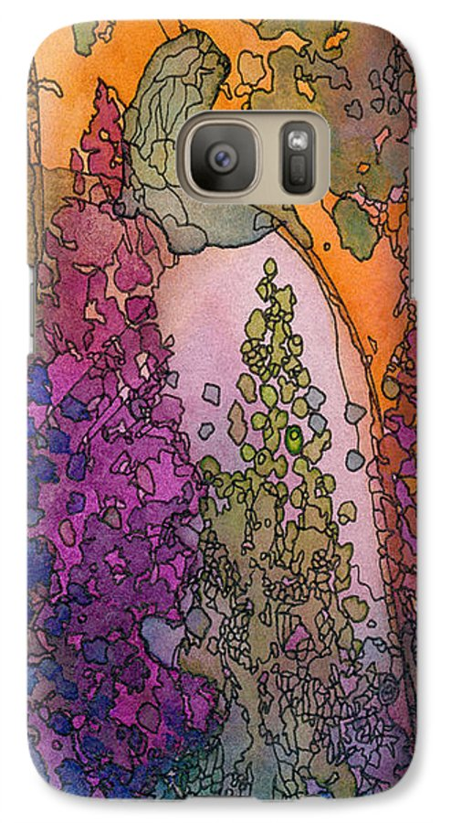 Fantasy Galaxy S7 Case featuring the painting Little Girl On A Rock by Christina Rahm Galanis