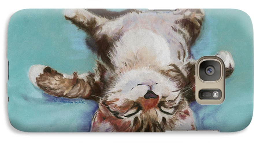 Cat Painting Galaxy S7 Case featuring the pastel Little Napper by Pat Saunders-White