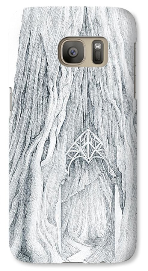 Lothlorien Galaxy S7 Case featuring the drawing Lothlorien Mallorn Tree by Curtiss Shaffer