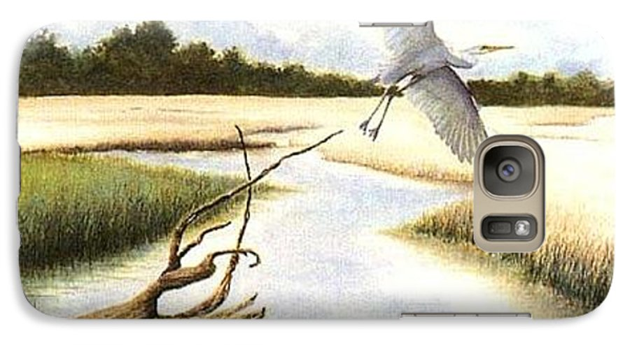 Egret Galaxy S7 Case featuring the painting Low Country Marsh by Ben Kiger