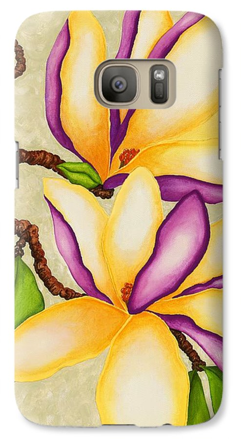 Two Magnolias Galaxy S7 Case featuring the painting Magnolias by Carol Sabo