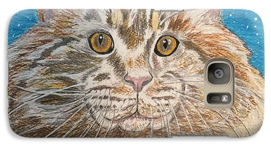 Maine Galaxy S7 Case featuring the painting Maine Coon Cat by Kathy Marrs Chandler