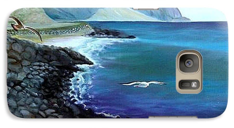 Malibu Beach Galaxy S7 Case featuring the painting Malibu Beach by Lora Duguay