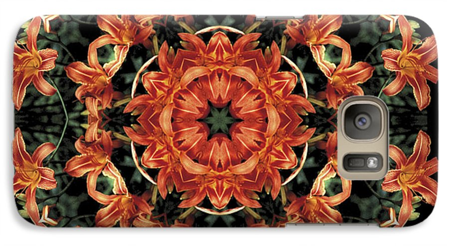 Mandala Galaxy S7 Case featuring the photograph Mandala Daylily by Nancy Griswold