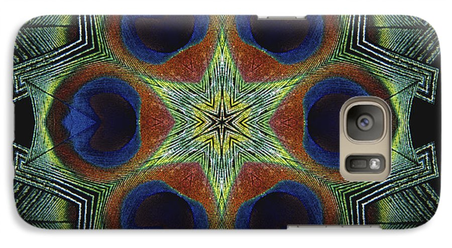 Mandala Galaxy S7 Case featuring the digital art Mandala Peacock by Nancy Griswold