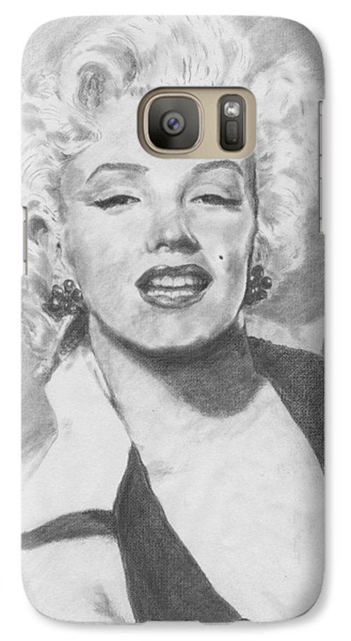Marilyn Galaxy S7 Case featuring the drawing Marilyn. by Janice Gell