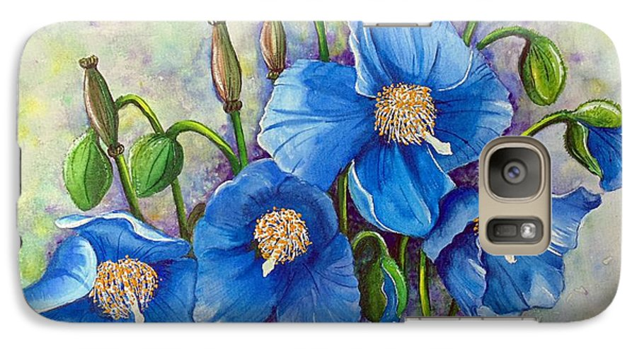 Blue Hymalayan Poppy Galaxy S7 Case featuring the painting Meconopsis  Himalayan Blue Poppy by Karin Dawn Kelshall- Best