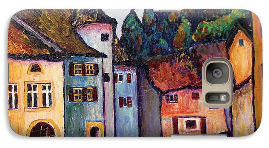 Medieval Galaxy S7 Case featuring the painting Medieval Village Of St. Ursanne Switzerland by Art Nomad Sandra Hansen