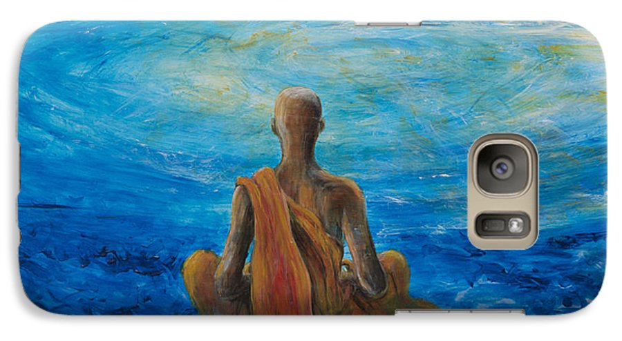 Monk Galaxy S7 Case featuring the painting Meditation by Nik Helbig