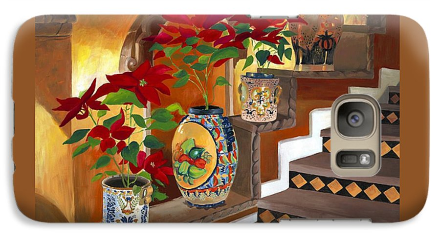 Mexican Pottery Galaxy S7 Case featuring the painting Mexican Pottery On Staircase by Judy Swerlick