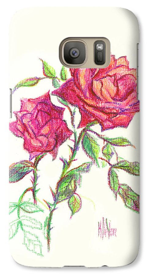 Nature Galaxy S7 Case featuring the painting Minature Red Rose by Kip DeVore