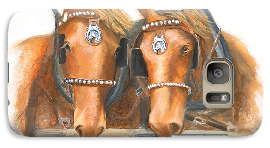 Horse Galaxy S7 Case featuring the painting Mini And Jake by Jerry McElroy