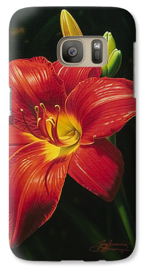 Lily Galaxy S7 Case featuring the painting Monikas Red Lily by Gary Hernandez