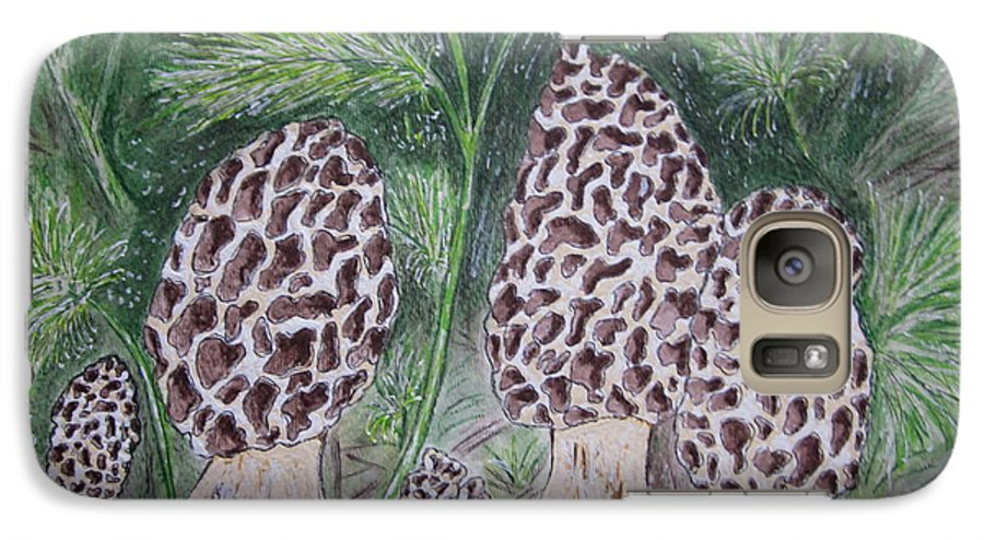 Morel Galaxy S7 Case featuring the painting Morel Mushrooms by Kathy Marrs Chandler
