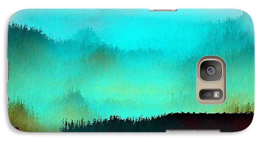 Morning Fog Silhouette The Layers Of The Fog Colors Pale Blue Rose Black Galaxy S7 Case featuring the digital art Morning For You by Dr Loifer Vladimir