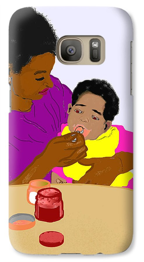 Mother Galaxy S7 Case featuring the painting Mother Feeding Her Baby by Pharris Art