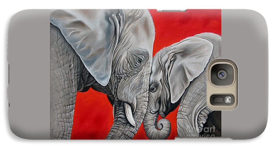 Elephant Galaxy S7 Case featuring the painting Mothers Love by Ilse Kleyn
