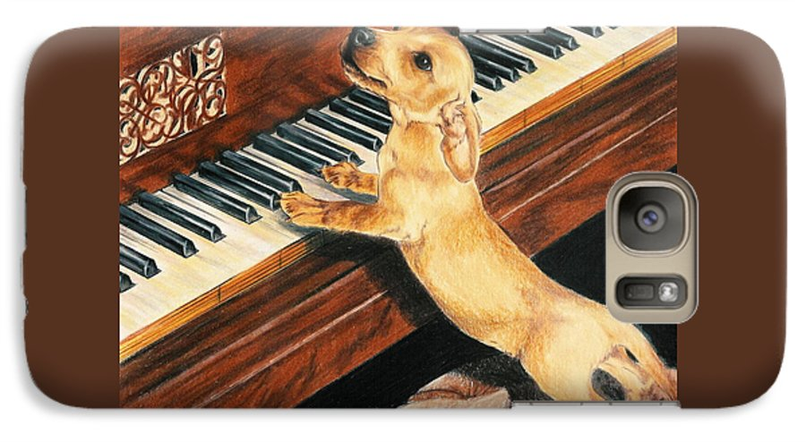 Dogs Galaxy S7 Case featuring the drawing Mozart's Apprentice by Barbara Keith