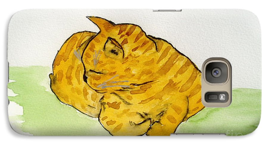 Cat Painting Galaxy S7 Case featuring the painting Mr. Yellow by Reina Resto