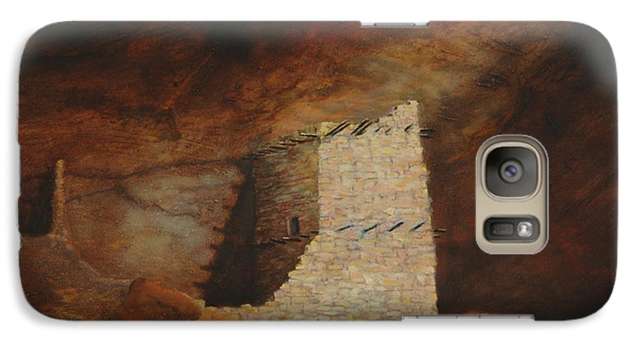 Anasazi Galaxy S7 Case featuring the painting Mummy Cave by Jerry McElroy